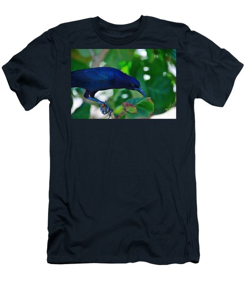 Blue-black Black Bird Men's T-Shirt (Athletic Fit)