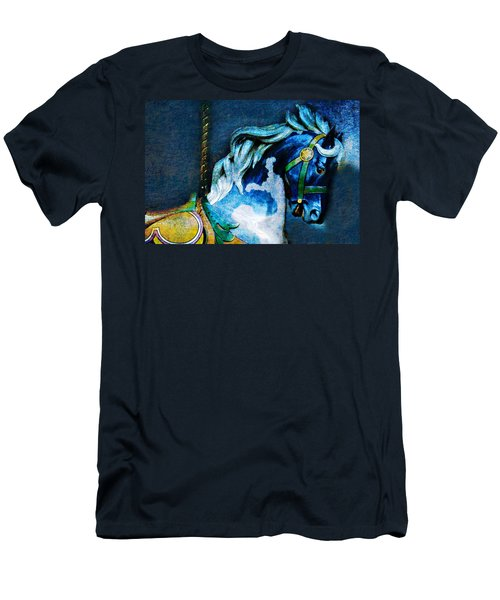Blue Carousel Horse Men's T-Shirt (Athletic Fit)