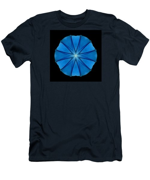 Men's T-Shirt (Slim Fit) featuring the photograph Blue Morning Glory Flower Mandala by David J Bookbinder