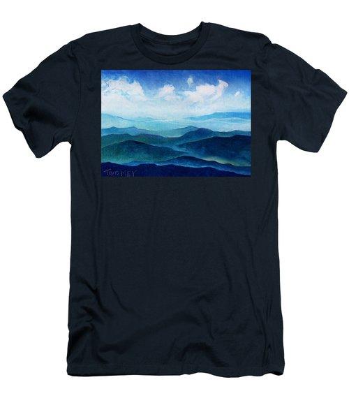 Blue Ridge Blue Skyline Sheep Cloud Men's T-Shirt (Slim Fit) by Catherine Twomey