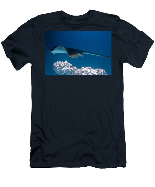 Men's T-Shirt (Slim Fit) featuring the photograph Blue Spotted Fantail Ray by Eti Reid