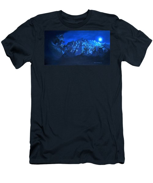 Men's T-Shirt (Slim Fit) featuring the painting Blue Village by Joseph Hawkins