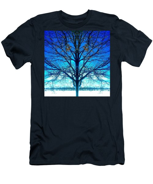 Blue Winter Tree Men's T-Shirt (Athletic Fit)