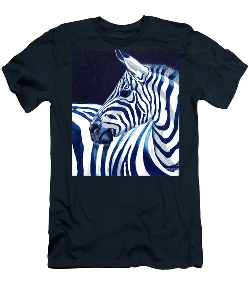 Men's T-Shirt (Slim Fit) featuring the painting Blue Zebra by Alison Caltrider