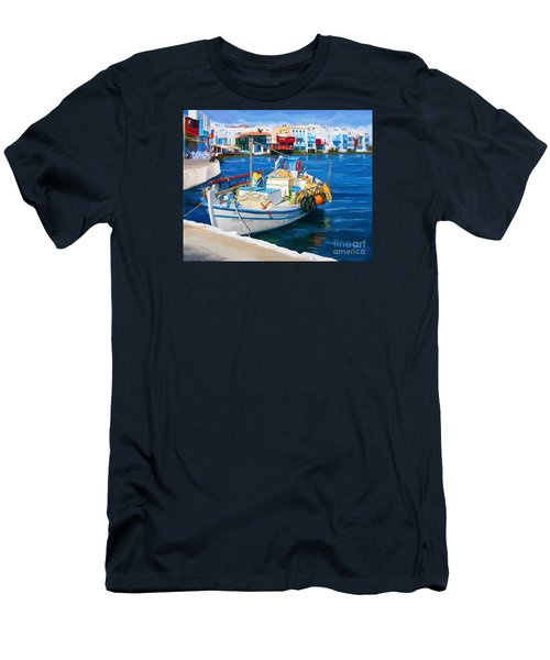 Men's T-Shirt (Slim Fit) featuring the painting Boat In Greece by Tim Gilliland
