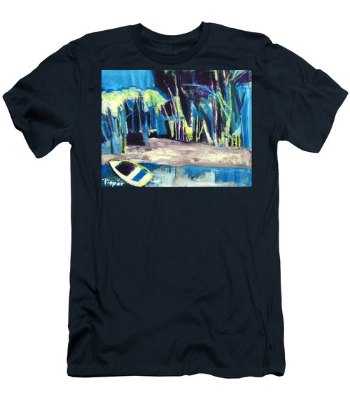 Boat On Shore Line With Trees On Land Men's T-Shirt (Athletic Fit)