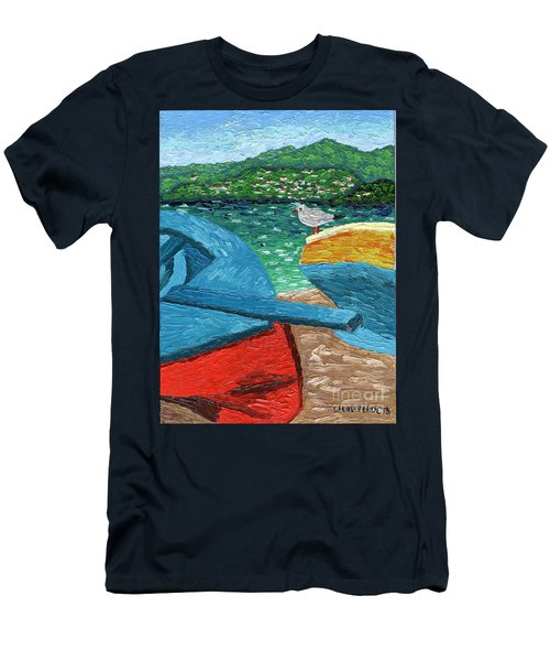 Men's T-Shirt (Slim Fit) featuring the painting Boats And Bird At Rest by Laura Forde