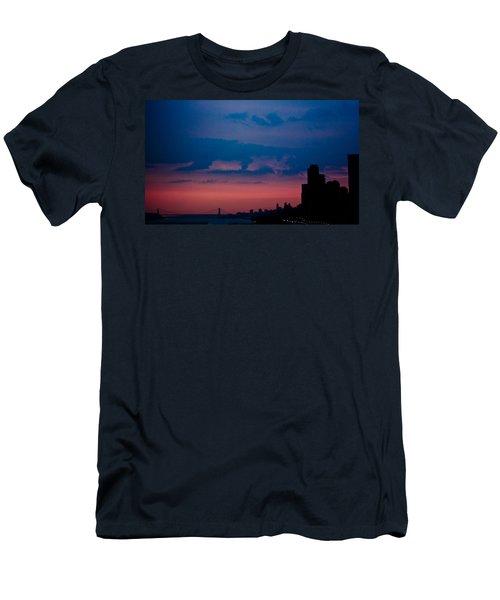 Brooklyn Bridge Sunrise Men's T-Shirt (Slim Fit) by Sara Frank