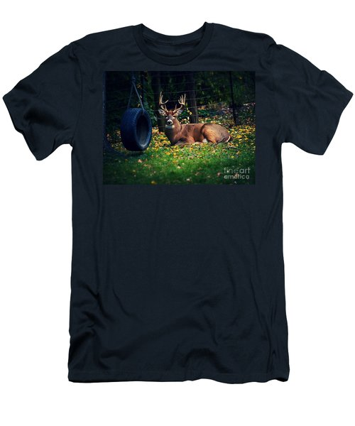 Buck In The Back Yard Men's T-Shirt (Athletic Fit)