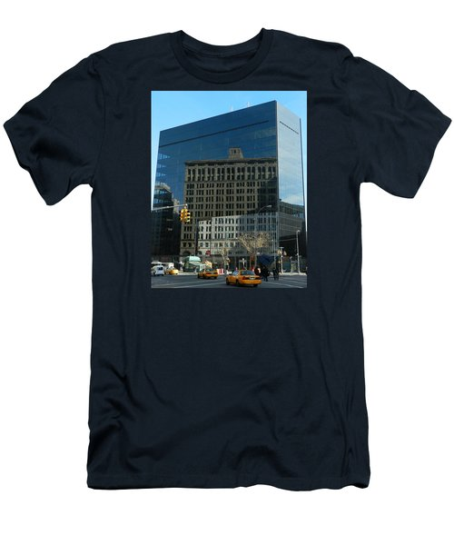 Men's T-Shirt (Slim Fit) featuring the photograph Building Reflections Nyc by Emmy Marie Vickers