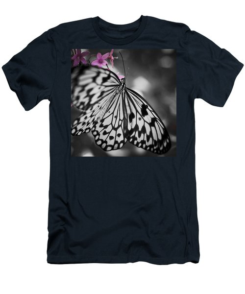 Butterfly On Pink Flowers Men's T-Shirt (Athletic Fit)
