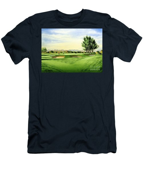 Men's T-Shirt (Athletic Fit) featuring the painting Carnoustie Golf Course 13th Green by Bill Holkham