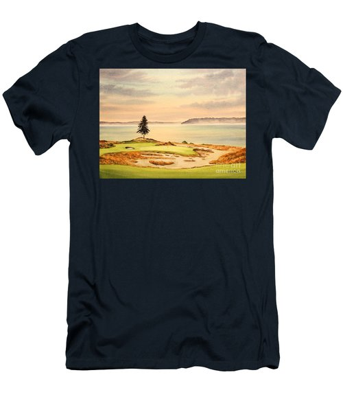 Men's T-Shirt (Athletic Fit) featuring the painting Chambers Bay Golf Course Hole 15 by Bill Holkham