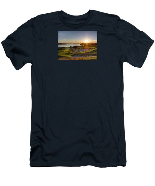 Men's T-Shirt (Slim Fit) featuring the photograph Chambers Bay Sun Flare - 2015 U.s. Open  by Chris Anderson