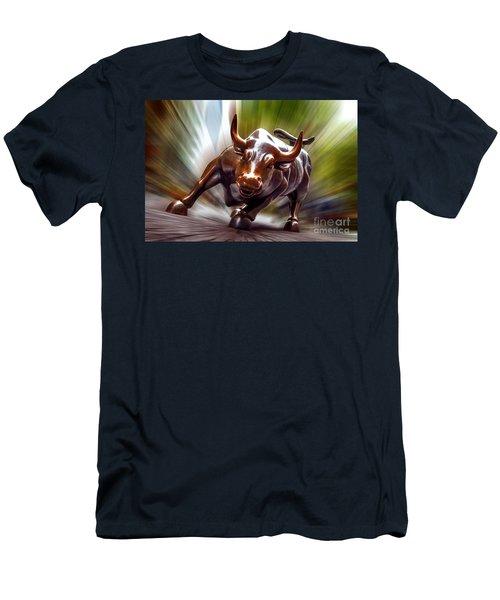 Charging Bull Men's T-Shirt (Slim Fit) by Az Jackson
