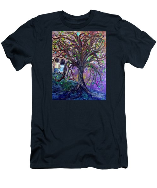 Men's T-Shirt (Slim Fit) featuring the painting Children Under The Fantasy Tree With Jackie Joyner-kersee by Eloise Schneider