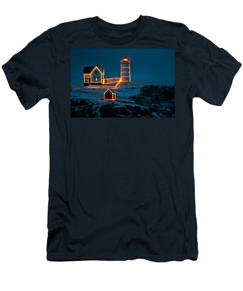 Christmas At Nubble Light Men's T-Shirt (Athletic Fit)