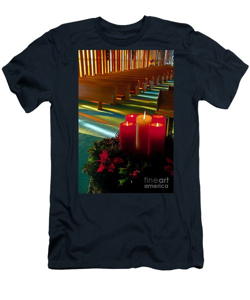 Christmas Candles At Church Art Prints Men's T-Shirt (Slim Fit) by Valerie Garner