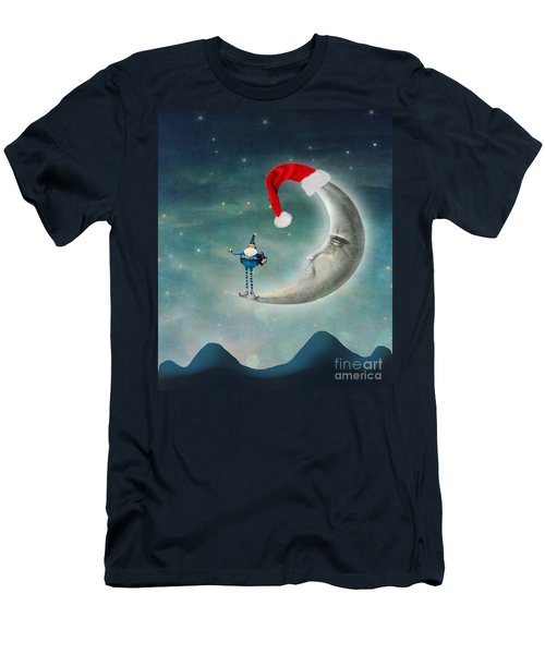Christmas Moon Men's T-Shirt (Slim Fit) by Juli Scalzi