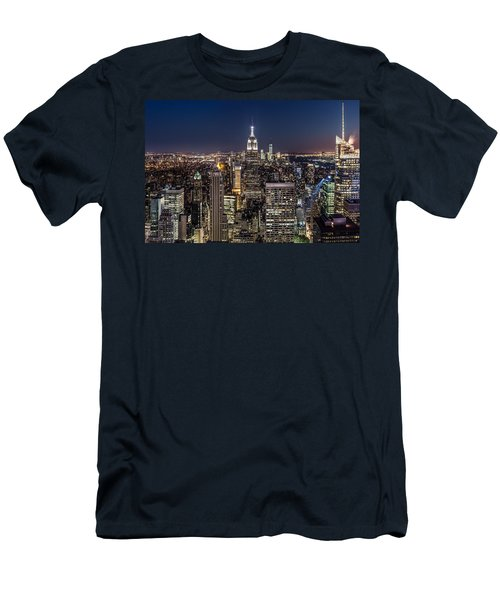 Men's T-Shirt (Slim Fit) featuring the photograph City Lights by Mihai Andritoiu