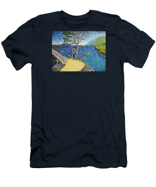 Men's T-Shirt (Slim Fit) featuring the painting Cliff by Viktor Lazarev