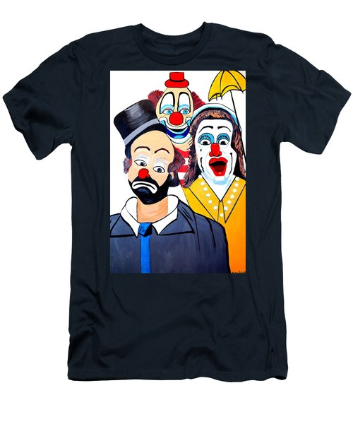 Men's T-Shirt (Slim Fit) featuring the painting Clowns In Shock by Nora Shepley