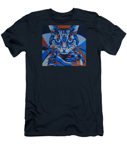 Men's T-Shirt (Slim Fit) featuring the painting Color Cat IIi by Pamela Clements