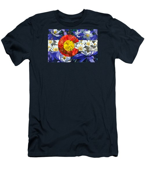 Men's T-Shirt (Athletic Fit) featuring the photograph Colorado State Flag With Wildflower Textures by Aaron Spong