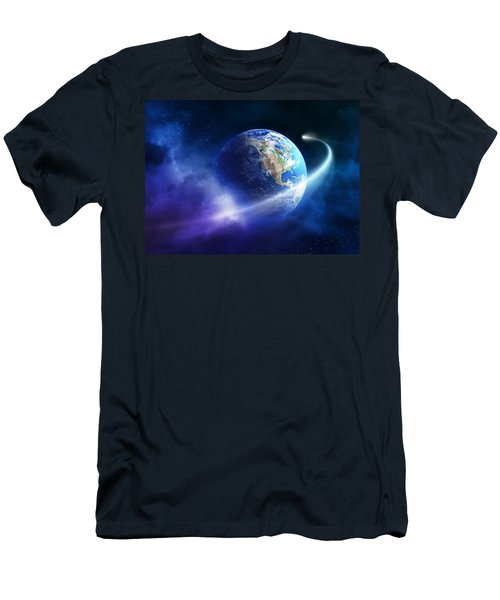 Comet Moving Passing Planet Earth Men's T-Shirt (Athletic Fit)