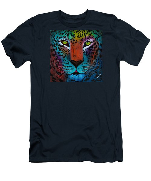 Men's T-Shirt (Athletic Fit) featuring the painting Content Leopard by Dede Koll