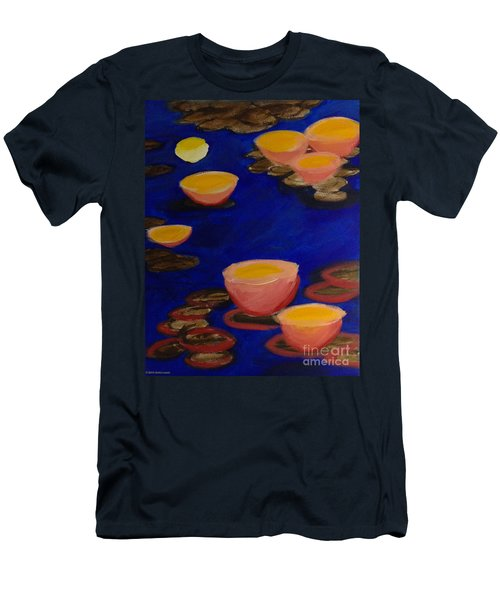 Men's T-Shirt (Slim Fit) featuring the painting Coral Lily Pond by Anita Lewis