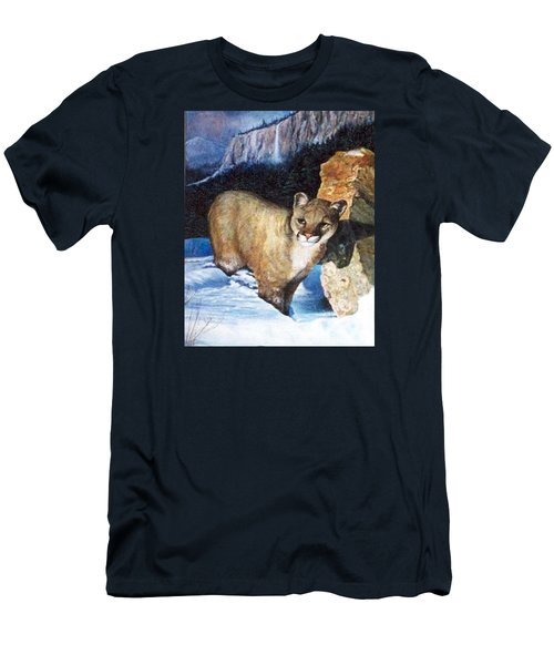 Cougar In Snow Men's T-Shirt (Athletic Fit)