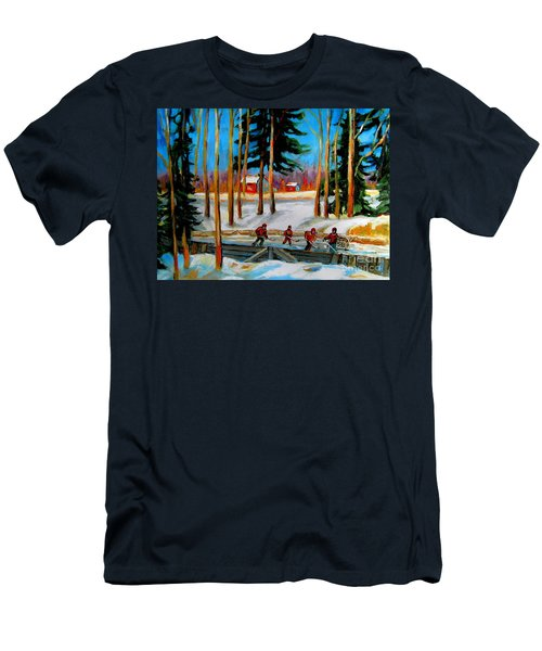 Country Hockey Rink Men's T-Shirt (Slim Fit) by Carole Spandau