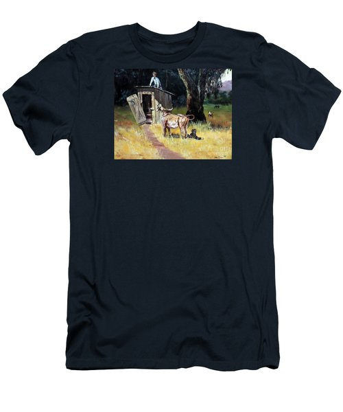 Cowboy On The Outhouse  Men's T-Shirt (Slim Fit) by Lee Piper