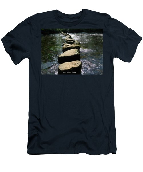Men's T-Shirt (Slim Fit) featuring the painting Crossing The Creek by Bruce Nutting