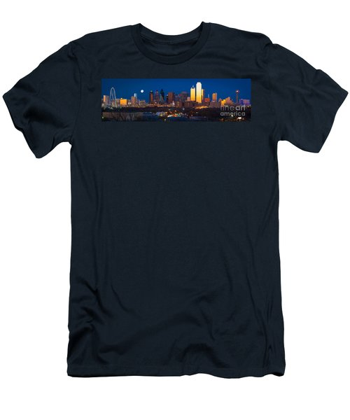 Dallas Skyline Panorama Men's T-Shirt (Slim Fit) by Inge Johnsson