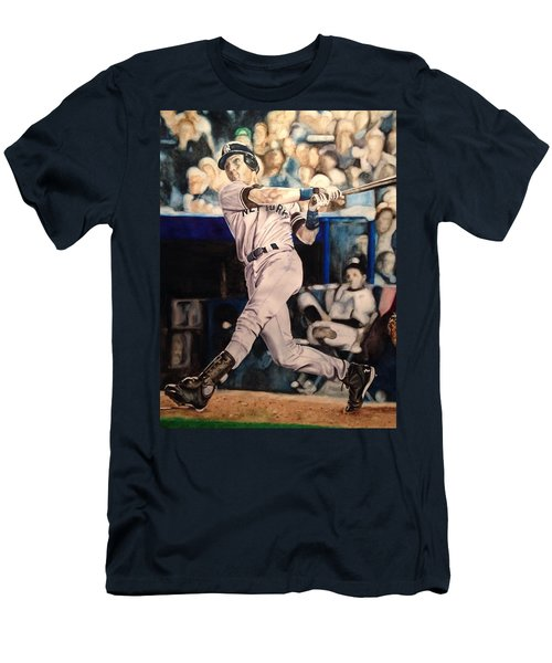 Men's T-Shirt (Slim Fit) featuring the painting Derek Jeter by Lance Gebhardt