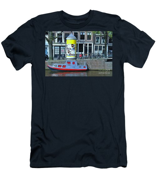 Men's T-Shirt (Slim Fit) featuring the photograph Docked In Amsterdam by Allen Beatty