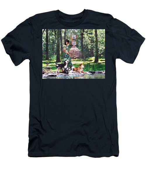 Dogs Lay At Her Feet Men's T-Shirt (Slim Fit) by Steve Karol