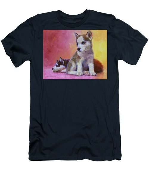 Double Trouble - Alaskan Husky Sled Dog Puppies Men's T-Shirt (Athletic Fit)