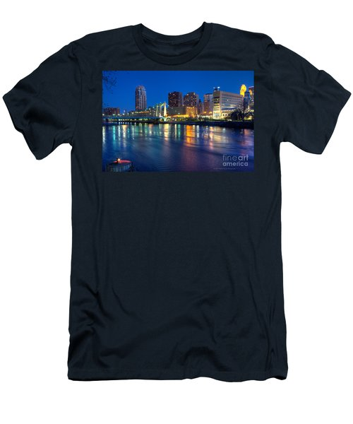 Downtown Minneapolis Skyline Hennepin Avenue Bridge Men's T-Shirt (Athletic Fit)