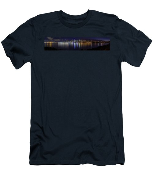 Downtown Vancouver Skyline By Night Men's T-Shirt (Athletic Fit)