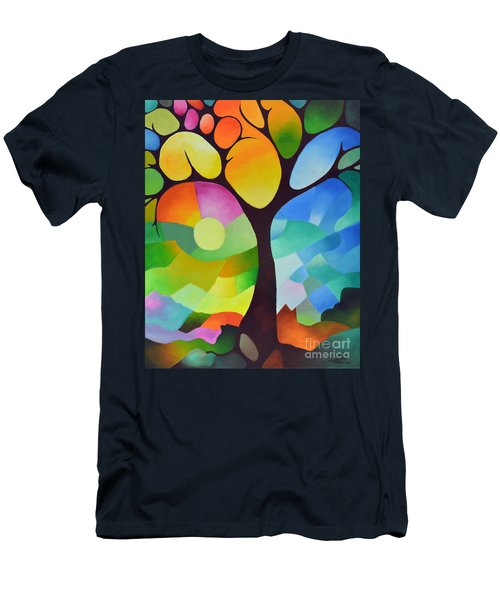 Dreaming Tree Men's T-Shirt (Slim Fit) by Sally Trace
