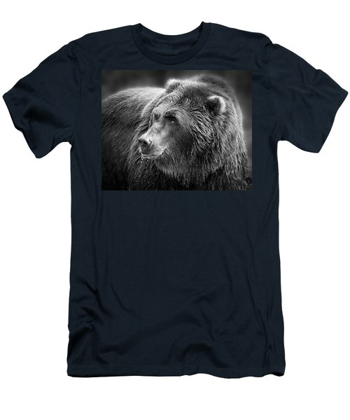 Drinking Grizzly Bear Black And White Men's T-Shirt (Slim Fit) by Steve McKinzie