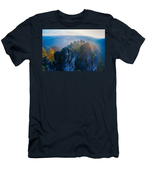 Early Morning Mist At The Bastei In The Saxon Switzerland Men's T-Shirt (Athletic Fit)