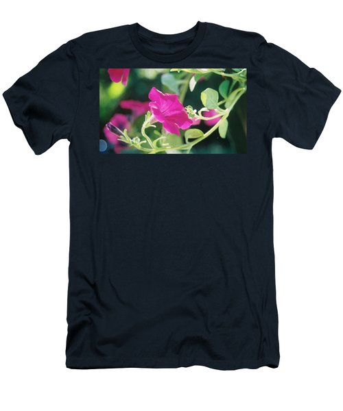 Men's T-Shirt (Slim Fit) featuring the photograph Early Morning Petunias by Alan Lakin