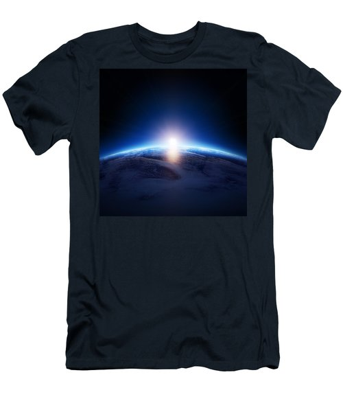 Earth Sunrise Over Cloudy Ocean  Men's T-Shirt (Athletic Fit)