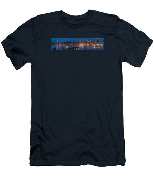 Elliott Bay Seattle Skyline Night Reflections  Men's T-Shirt (Slim Fit) by Mike Reid