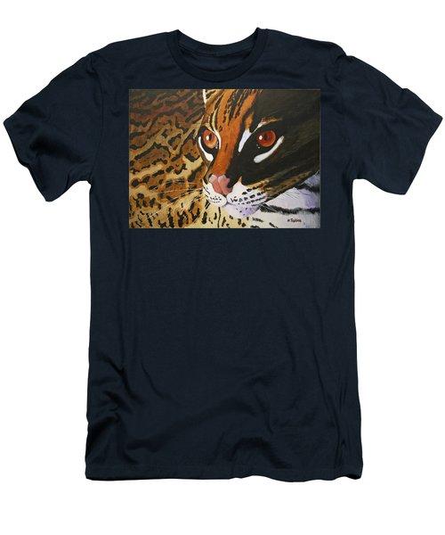Endangered - Ocelot Men's T-Shirt (Slim Fit) by Mike Robles