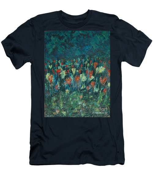 Men's T-Shirt (Slim Fit) featuring the painting Evening Buds by Mini Arora